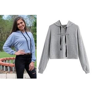 Sweat à capuche Taille haute pour Femme gris maroc - Sweat à capuche Taille haute pour Femme - gris