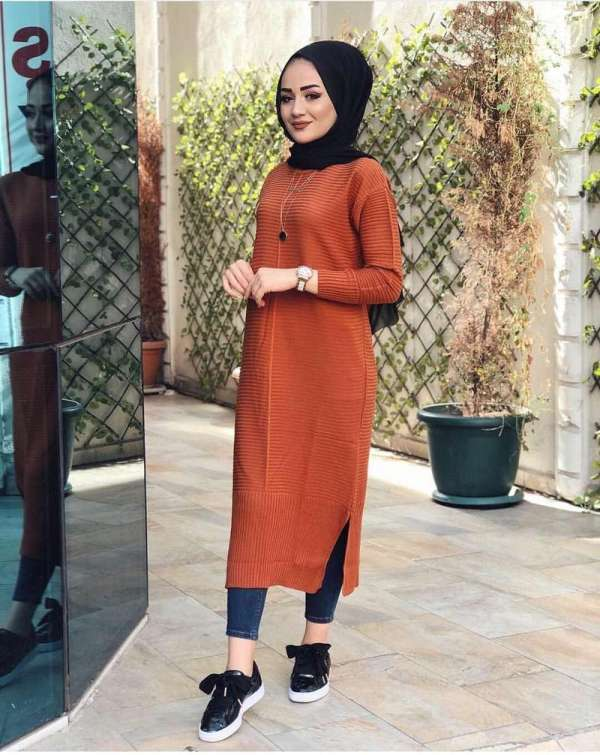 Tunique Pull longue en maille Tricot Maroc orange