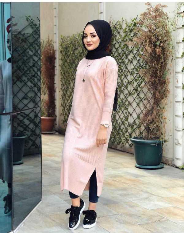 Tunique Pull longue en maille Tricot Maroc rose