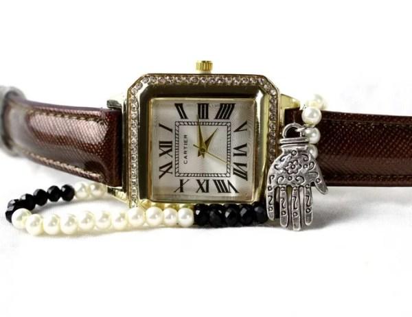 Montre Classique Marron avec Bracelet Khmissa