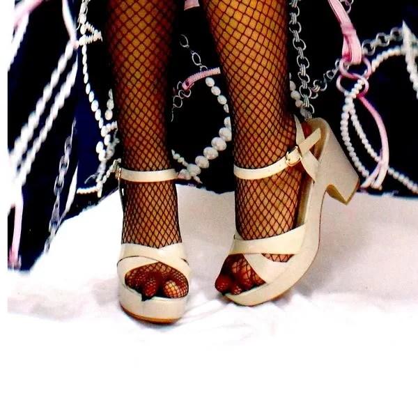 Sandale à talon Couleur Blanc Cassé Crémé