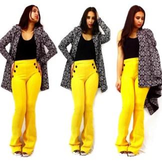 pantalon jaune et veste Noir Imprimé