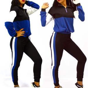 Chic Survêtement Sport Femme - Bleu Noir