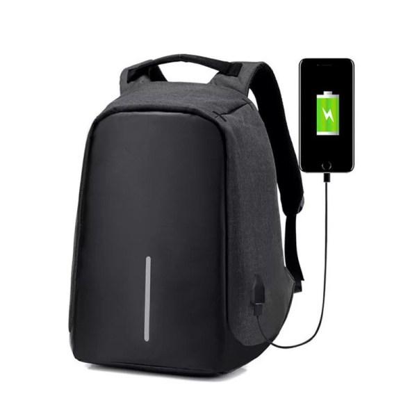 Cartable Sac à dos anti-vol avec port de charge USB - Noir