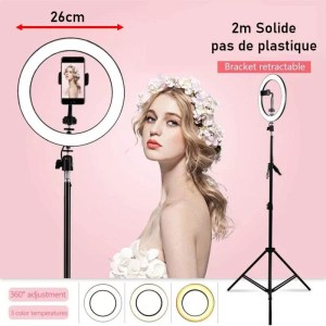 ring light Instagram professionel 26cm et trepied solide 2 metre maroc solde vente promo
