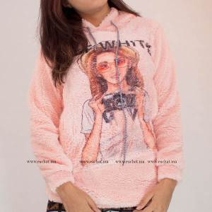 sweat capuche tissus peluche Off White solde maroc imprimé top hoodie rose chaud