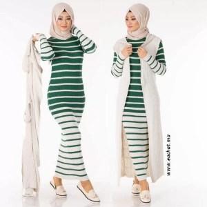 Ensemble 2 Pièces Longue Robe Tricot Rayé Vert Blanc avec Gilet - تريكو تركي أنصومبل 2 بياس vente en ligne maroc vetement hijab