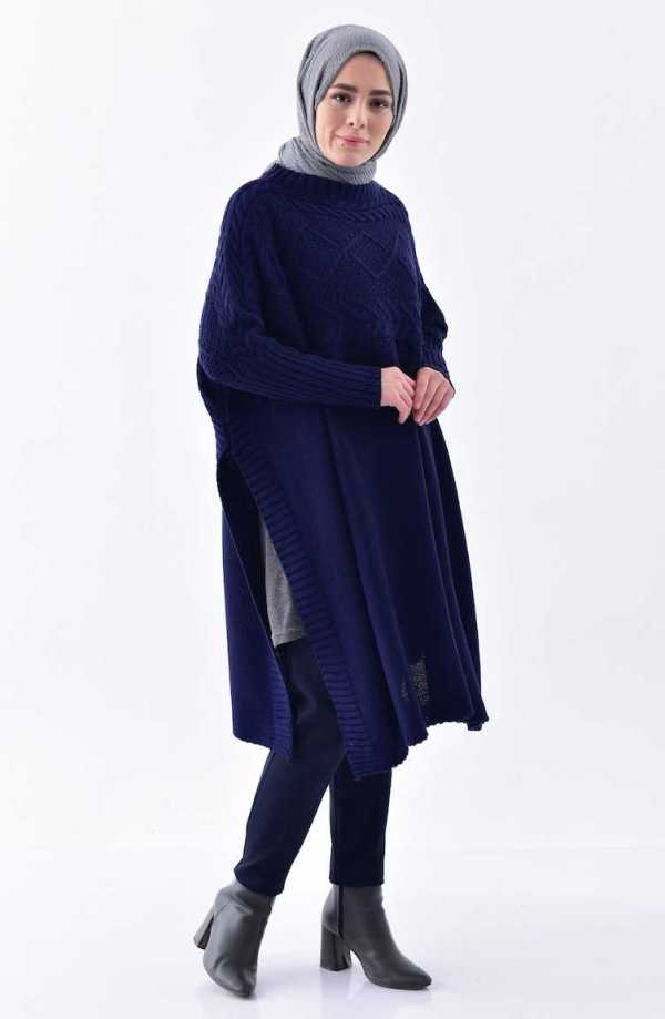 Tunique Pull longue en maille Tricot Disponible en plusieurs couleurs Taille Standard couleur bleu promo