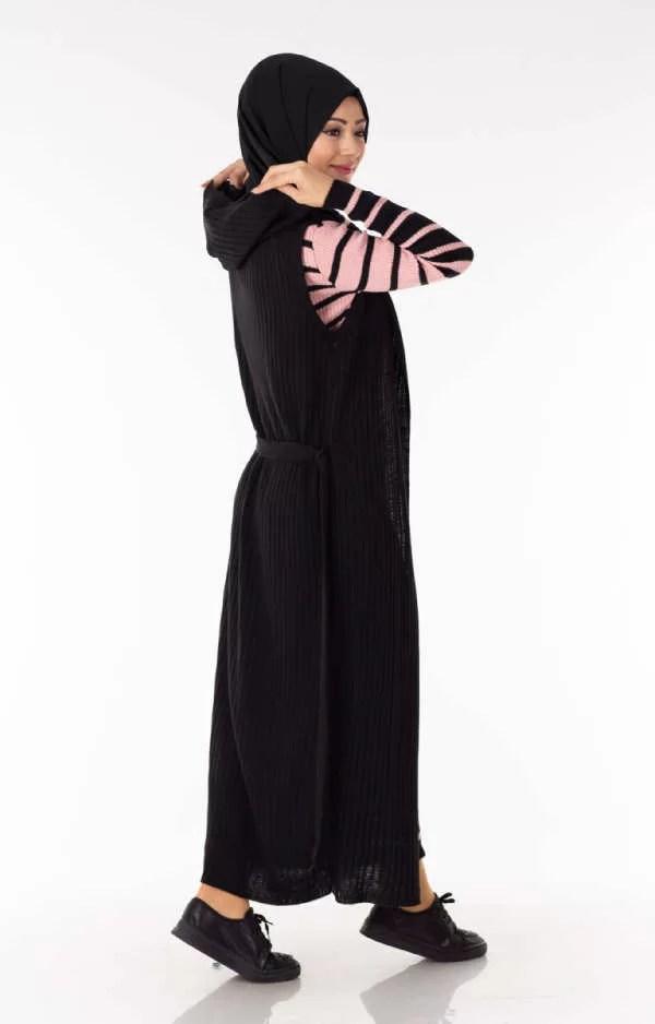 Ensemble 2 Pièces Longue Robe Tricot Rayé Rose Noir avec Gilet - تريكو تركي أنصومبل 2 بياس أزياء الشتاء Solde Maroc Femme vetement hijab