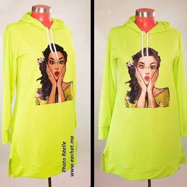sweat capuche vert fluo solde maroc casablanca tendance