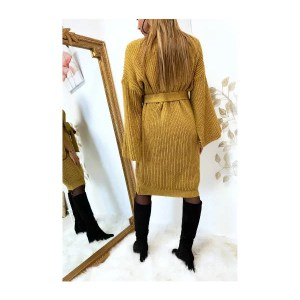 Robe Pull Avec Ceinture et Ouvert au Manches - Moutarde
