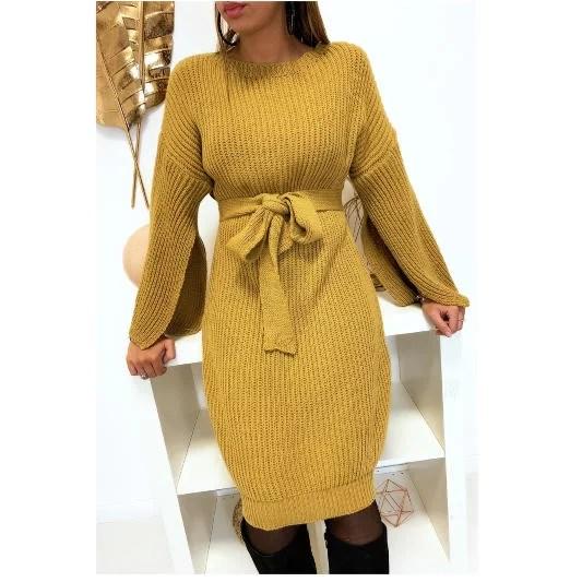 Robe Pull Avec Ceinture et Ouvert au Manches - Moutarde solde maroc promo