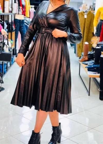 Robe Croisée Simili Cuir Tres Chic - Noir