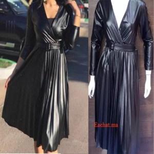Robe Croisée Plissée Simili Cuir Tres Chic - Noir
