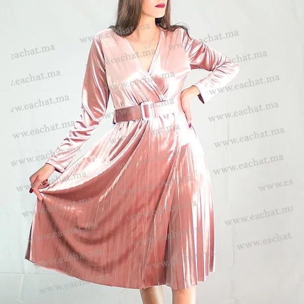 Robe Croisée Plissée En Velours (mobra) - Beige maroc soirée chic