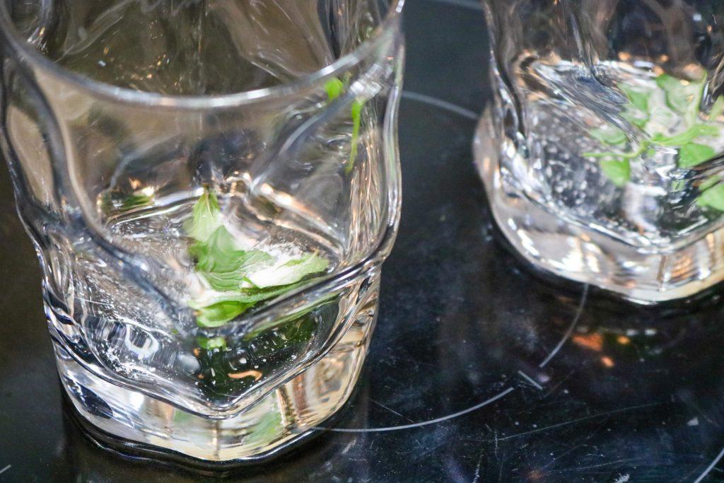 Muddle Mint Leaves with Salt