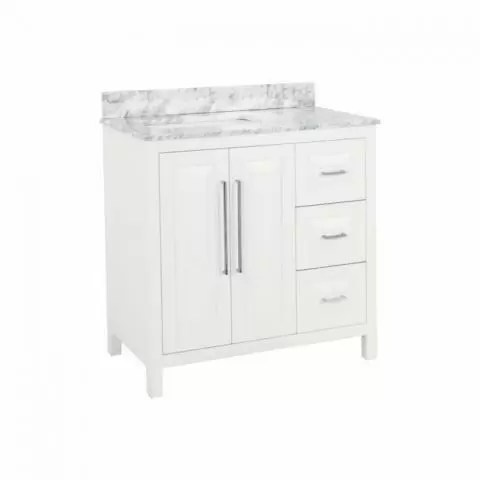 cade contempo white 36 bathroom vanity cabinet with carrera white marble countertop and sink bowl jeffrey alexander