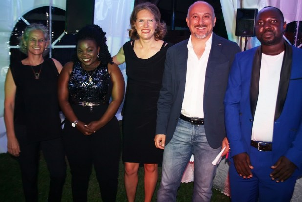 Ambassador of Italy, H.E Domenico Fornara (2rd Right) with his wife Mrs. Anna Muscetta (in center) and Mr. Tony Wamala, Director Business Development Services – EAEA (Right) during a Dinner Buffet at Italian ambassador's residence in Kampala on November 23, 2018