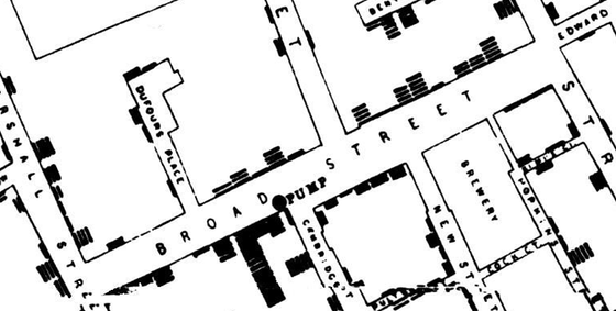 Snow's Broad Street Map (detail)