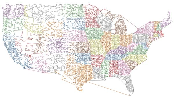 Map of the USA showing the shortest line through all ZIP codes.