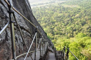 The steel stairway