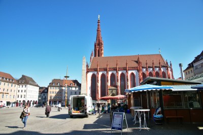 Wuerzburg market place in the city centre