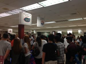 Students and parents discuss opportunities with University of Florida and University of Florida Online.