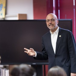 Rep. Ted Deutch answers a student's question at town hall meeting on January 23, 2018. Photo by Kevin Trejos