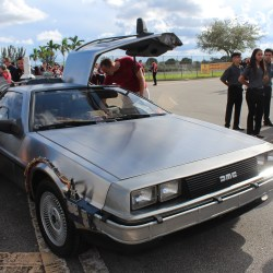 Blast from the Past. The Delorean makes a surprise appearance at the Homecoming parade.