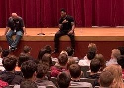 Pittsburgh Steelers' Linebacker Devin Bush speaks to MSD students