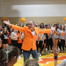 Orange Ribbons for Jaime's founder Fred Guttenberg dances with the crowd of supporters at the Orange Ribbons for Jaime Dance-a-Thon on Frdiay, Nov. 8. Photo by Kaleela Rosenthal