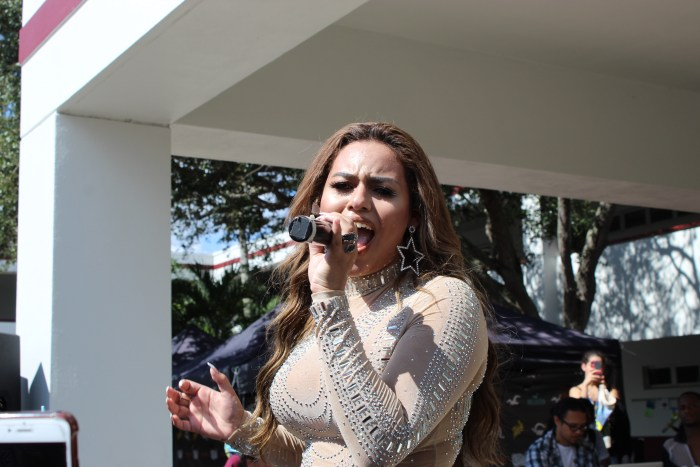 Gabby B performs during the pop-up pep rally during B lunch on Friday, Nov. 1. Photo by Fenthon Aristhomene