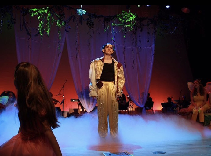"Junior Peri Harris played Puck in MSD's production of ""A Rockin' Midsummer Night's Dream."""