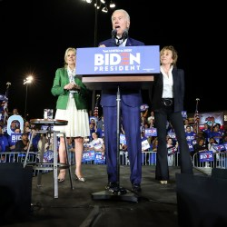 Democratic Presidential hopeful Joe Biden takes the stage with his wife, Jill, and sister, Valerie, right, during a campaign rally at the Baldwin Hills Recreation Center in Los Angeles on Tuesday, March 3, 2020. (Robert Gauthier/Los Angeles Times/TNS)