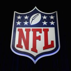 The NFL shield logo is seen following a news conference held by NFL Commissioner Roger Goodell at the George R. Brown Convention Center in Houston on February 1, 2017. (Tim Bradbury//TNS)