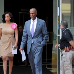 Broward County School Board member Dr. Rosalind Osgood and Superintendent Robert Runcie walk towards the media for a news conference on Wednesday, March 18, 2020 to discuss the latest developments with school closures due to coronavirus.