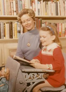 Phyllis Schlafly teaching her daughter Anne to read.