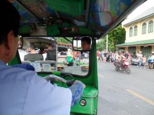 Riding a tuk tuk
