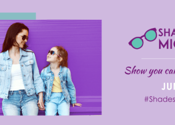 a purple and teal graphic with a photo of a woman and little girl wearing denim and sunglasses. Text to the right reads #ShadesForMigraine: Show you care, wear a pair June 21