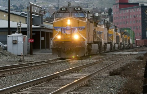 AUNION Pacific freight train runs west along First Street, downtown The Dalles. The City of The Dalles has joined other Oregon and Washington cities in requesting greater federal oversight of oil train transports.