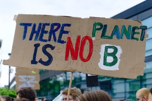 """Protester holding sign """"there is no planet B"""""""