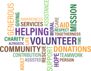 A text graphic of volunteer-related words
