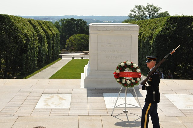 Guard patrolling tomb of the unknown soldier, Arlington National Cemetery