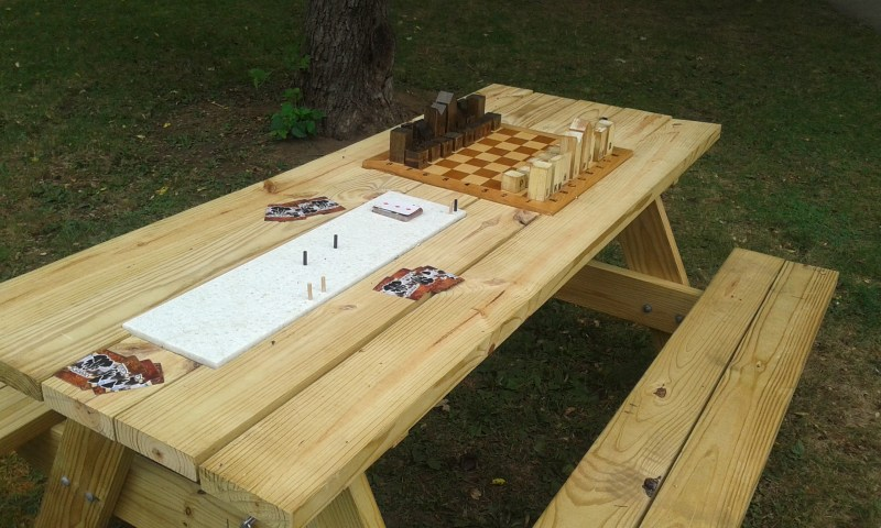 Chess Board and Cribbage Board for Public Playground