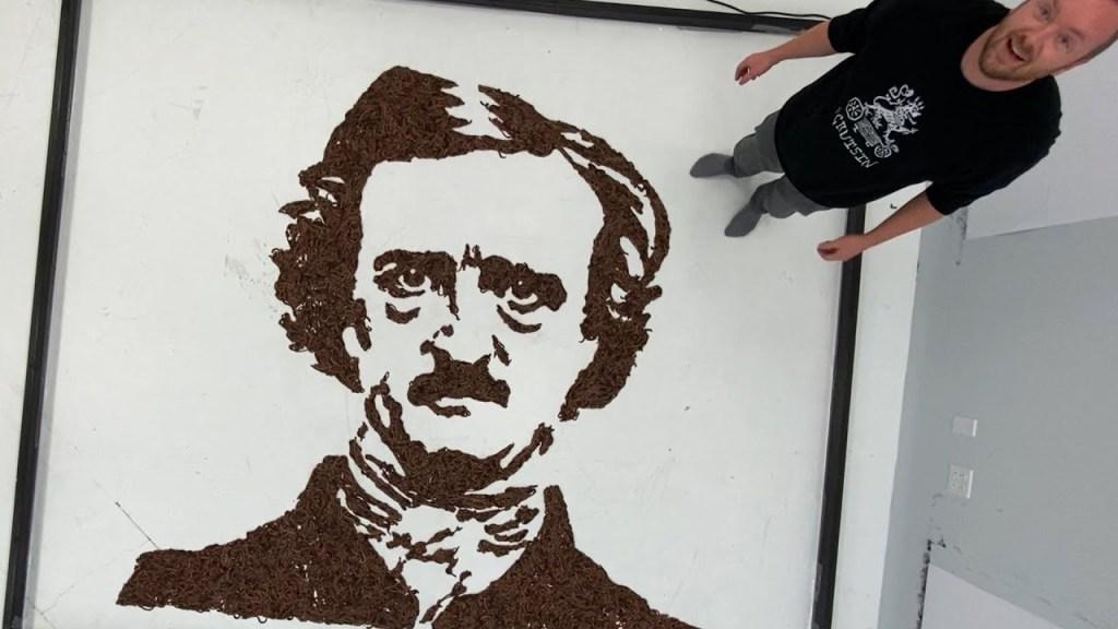 Phil Hansen with Edgar Allan Poe worm portrait