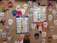 Paper skulls made for Day of the Dead festivities.