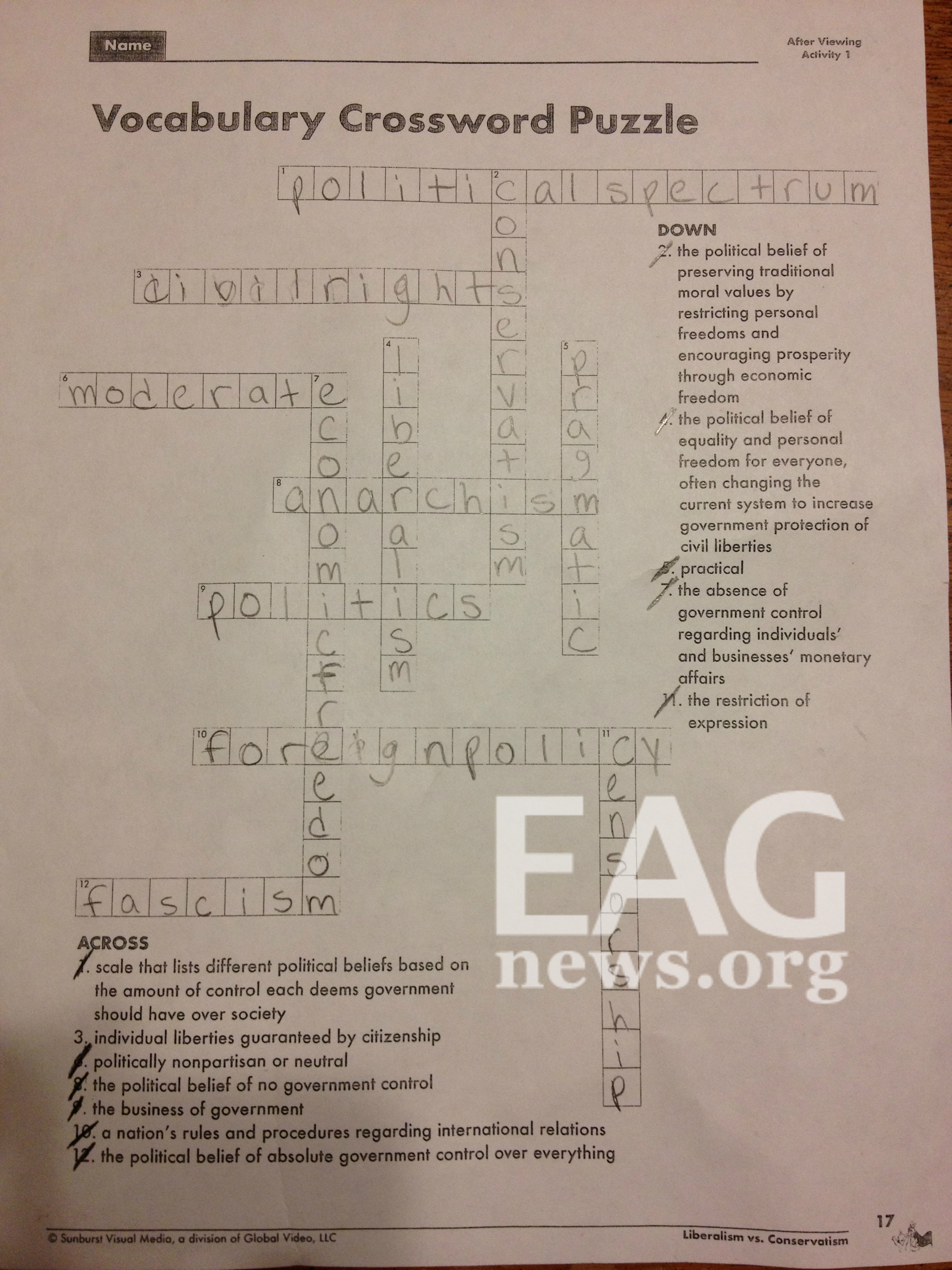 Message From Public School Crossword Puzzle Conservatism Restricts Personal Freedoms