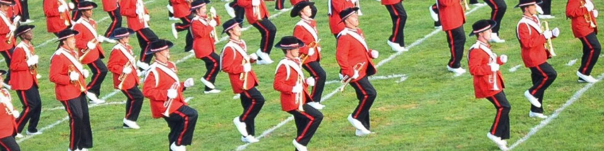 Easton Area High School Marching Band members on the field