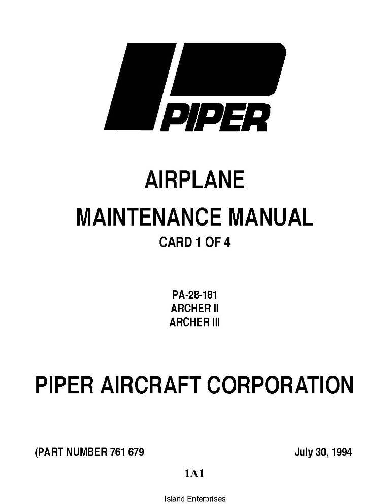 piper archer ii iii maintenance manual pa 28 181 part 761 679 rh eaircraftmanuals com Piper Meridian Useful Load Piper Seneca