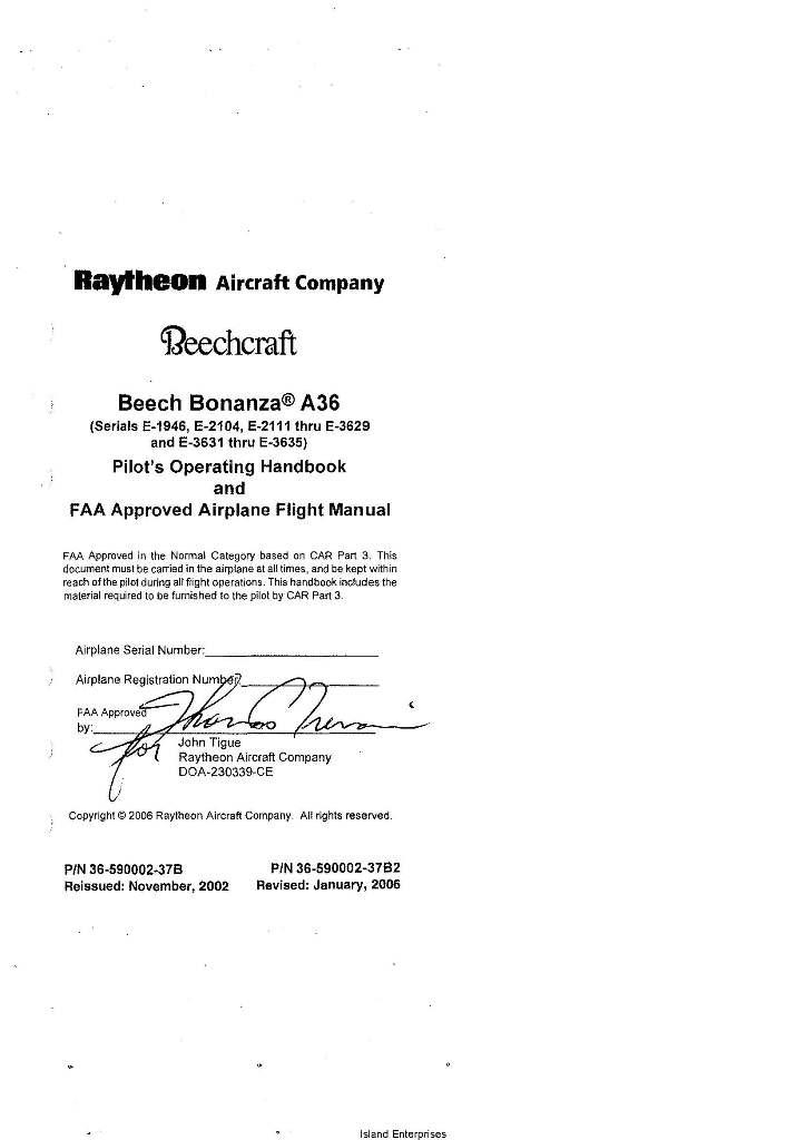 beech bonanza a36 pilot s operating handbook and flight manual 2002 2006 rh eaircraftmanuals com Beechcraft Bonanza A36 Performance Beech Bonanza A36 Specs